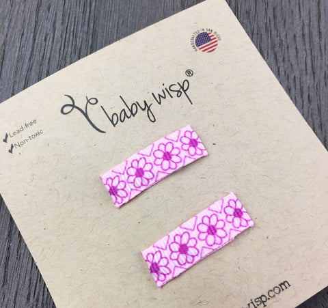 Small Snap Ribbon Hair Clip - Pink Flowers - Baby Wisp