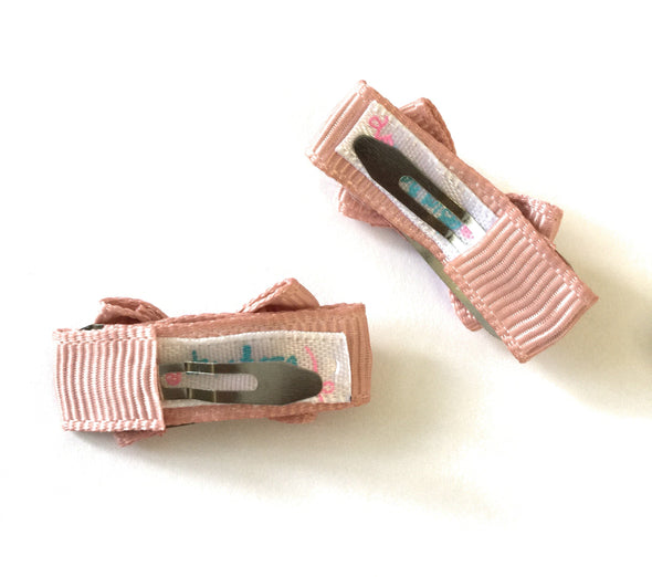 Grosgrain Tuxedo Bow Snap Clip - 2 Pack - Rosy Mauve - Baby Wisp