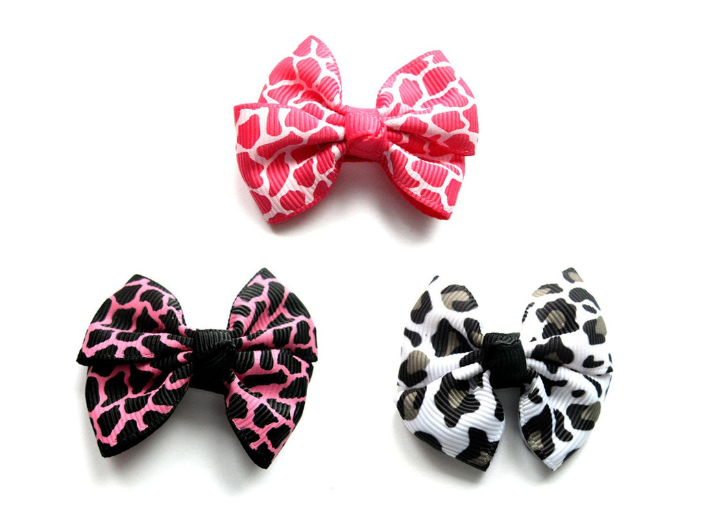 Animal print hair bows for girls
