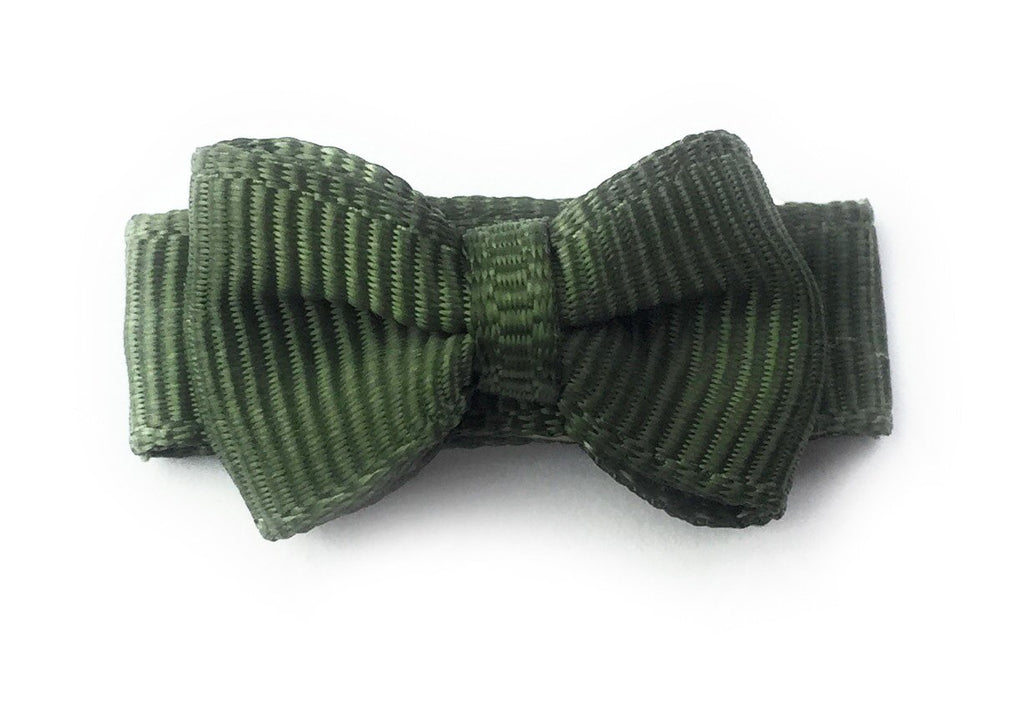 Grosgrain Tuxedo Bow Snap Clip - Single Hair Bow - Moss Green - Baby Wisp