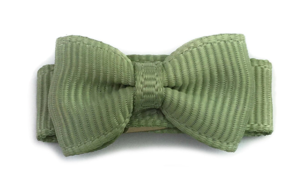 Grosgrain Tuxedo Bow Snap Clip - Single Hair Bow - Sage Green - Baby Wisp