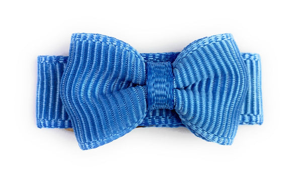 Grosgrain Tuxedo Bow Snap Clip - Single Hair Bow - Coastal Blue - Baby Wisp