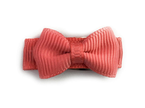 Grosgrain Tuxedo Bow Snap Clip - Single Hair Bow - Deep Coral