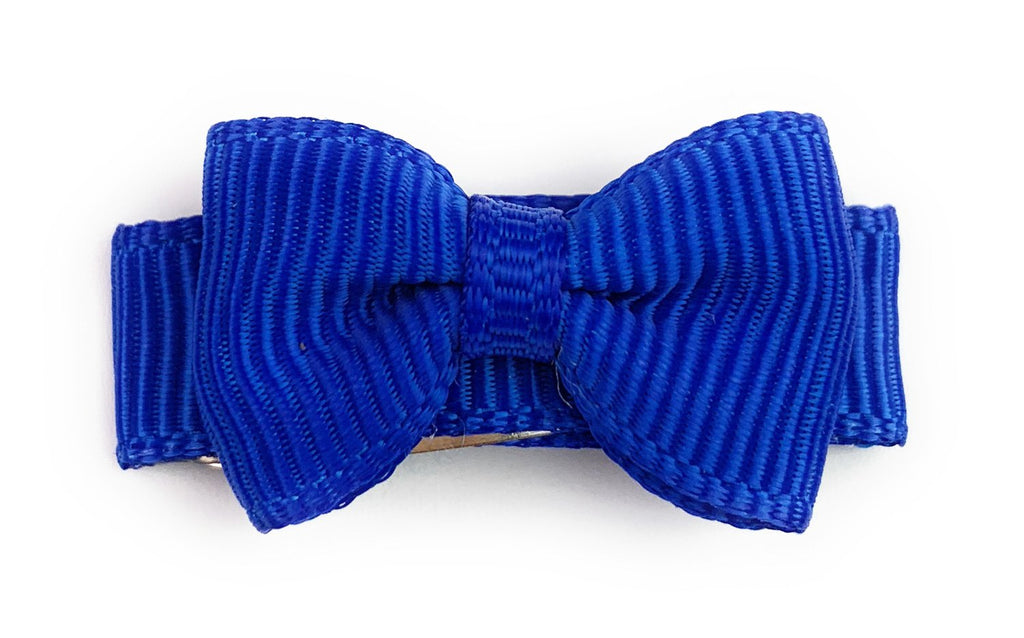 Grosgrain Tuxedo Bow Snap Clip - Single Hair Bow - Electric Blue - Baby Wisp