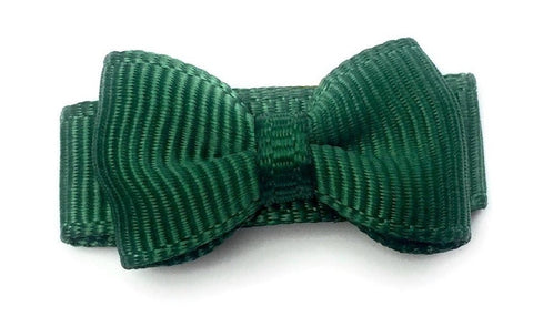 Grosgrain Tuxedo Bow Snap Clip - Single Hair Bow - Forest Green - Baby Wisp
