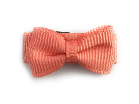 Grosgrain Tuxedo Bow Snap Clip - Single Hair Bow - Light Coral - Baby Wisp