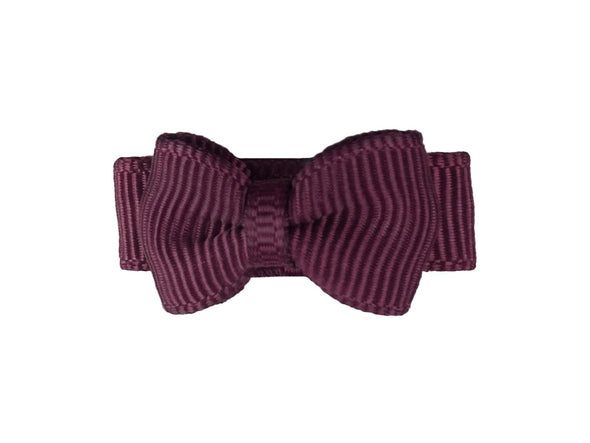 Grosgrain Tuxedo Bow Snap Clip - Single Hair Bow - Maroon - Baby Wisp