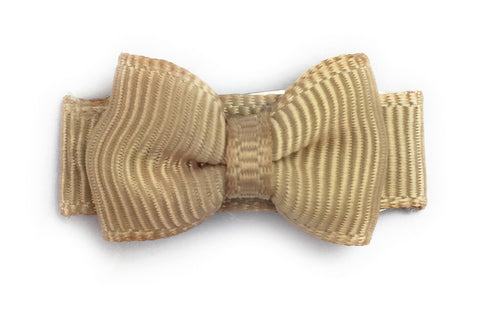 Grosgrain Tuxedo Bow Snap Clip - Single Hair Bow - Oatmeal - Baby Wisp