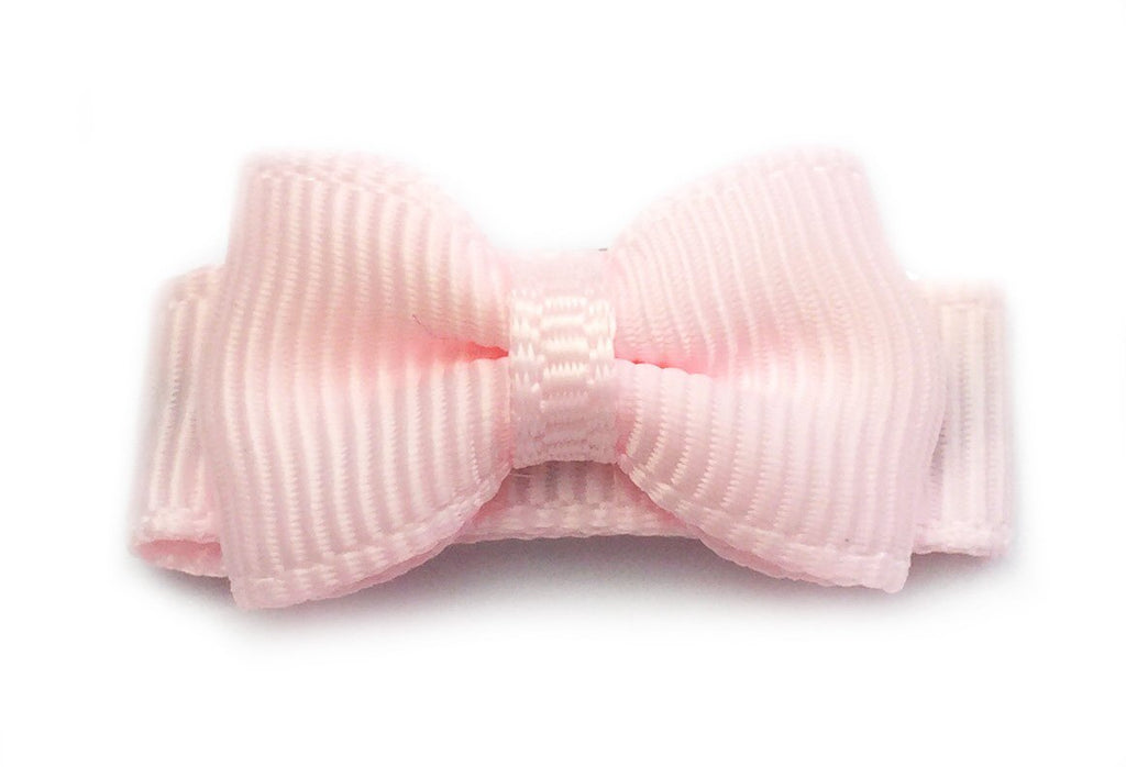 Grosgrain Tuxedo Bow Snap Clip - Single Hair Bow - Pale Ballet Pink - Baby Wisp