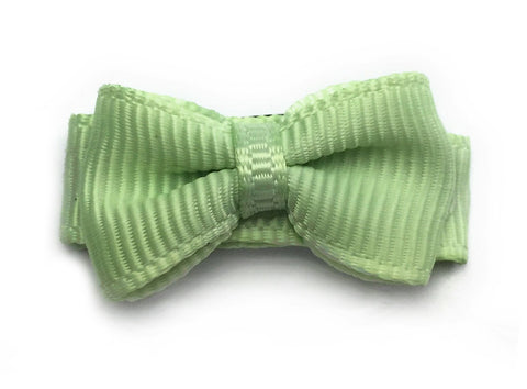 Grosgrain Tuxedo Bow Snap Clip - Single Hair Bow - Pistachio Gelato - Baby Wisp