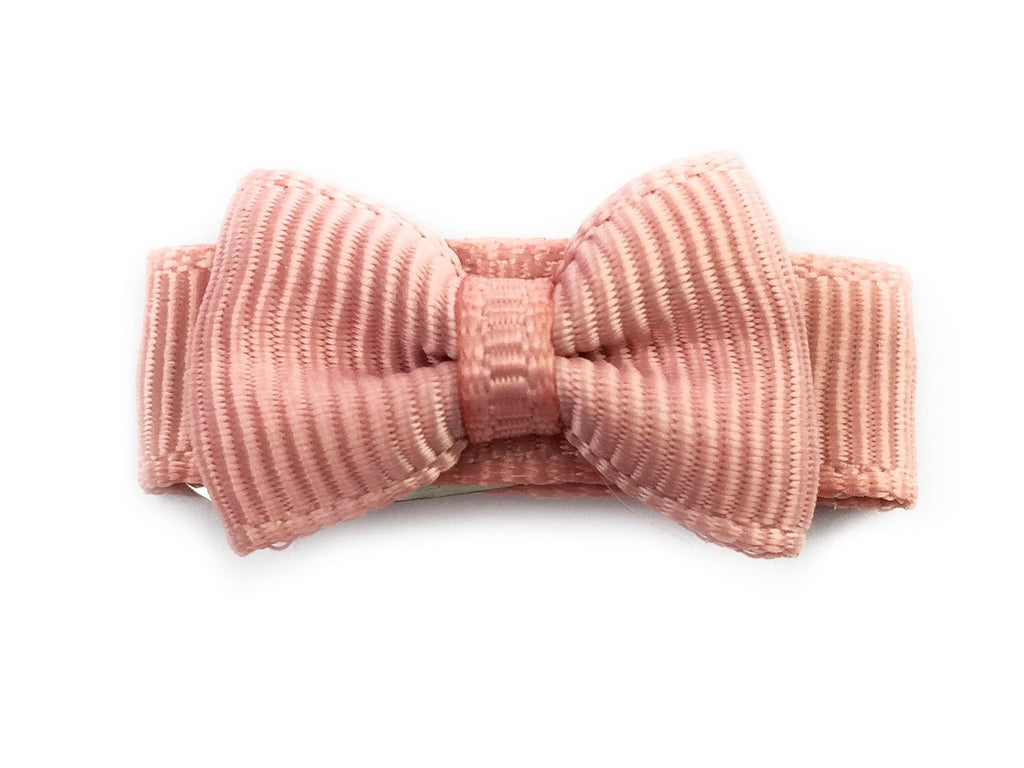 Grosgrain Tuxedo Bow Snap Clip - Single Hair Bow - Rose Taupe - Baby Wisp