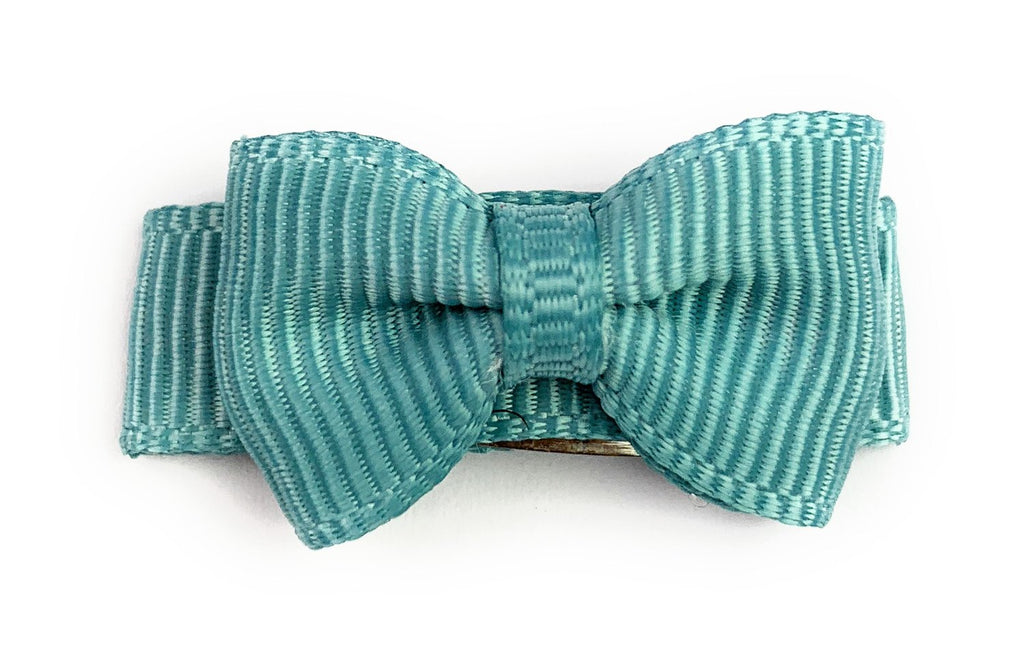 Grosgrain Tuxedo Bow Snap Clip - Single Hair Bow - Seaside Turquoise - Baby Wisp