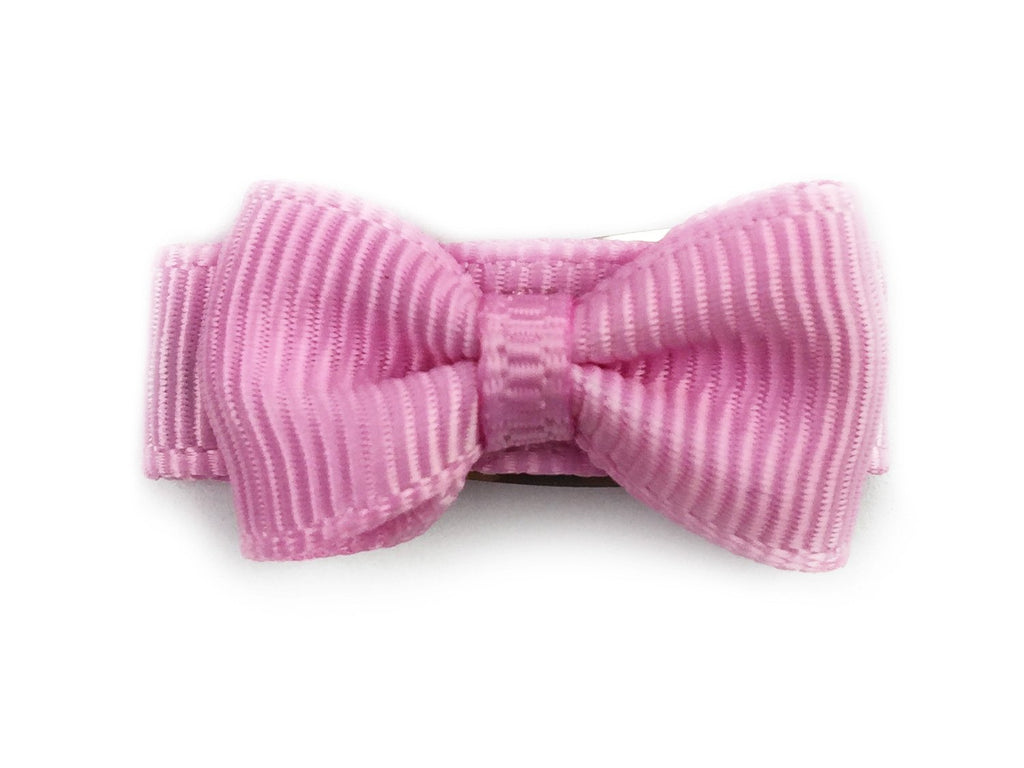 Grosgrain Tuxedo Bow Snap Clip - Single Hair Bow - Tulip Pink - Baby Wisp