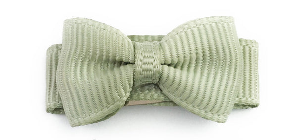 Grosgrain Tuxedo Bow Snap Clip - Single Hair Bow - Soft Pine - Baby Wisp
