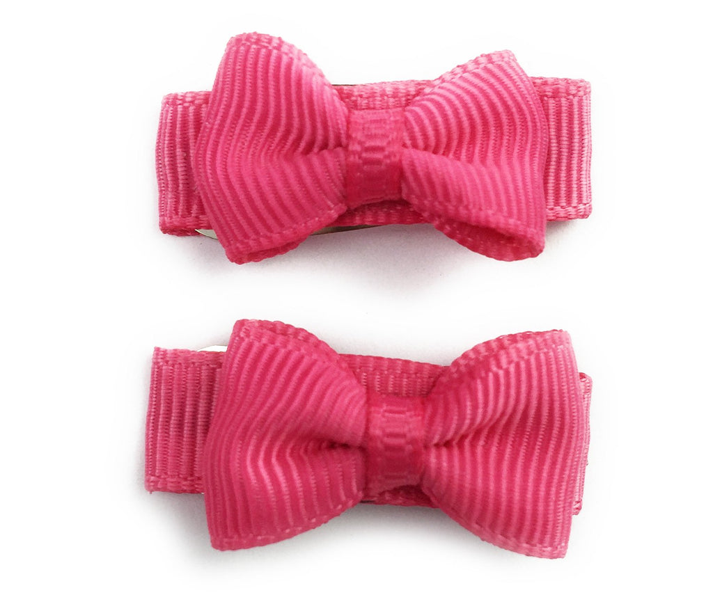 Grosgrain Tuxedo Bow Snap Clip - 2 Pack - Camelia Rose - Baby Wisp