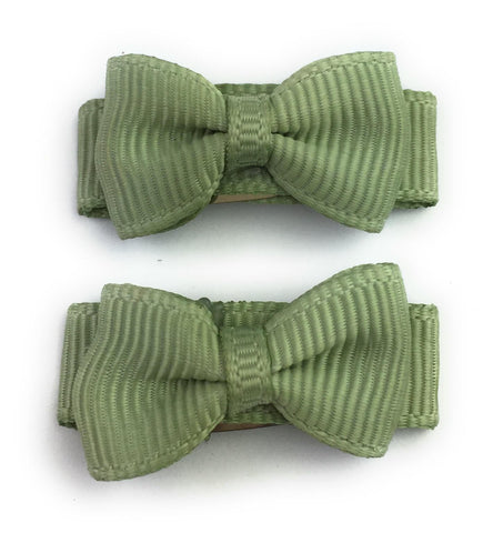 Grosgrain Tuxedo Ribbon Bow - 2 Snap Clips - Baby Wisp