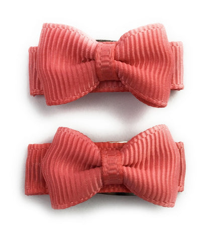 Grosgrain Tuxedo Ribbon Bow - 2 Snap Clips - Deep Coral - Baby Wisp