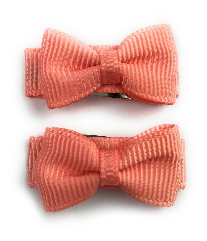 Grosgrain Tuxedo Ribbon Bow - 2 Snap Clips - Light Coral - Baby Wisp