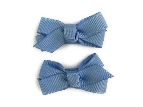 Small Snap Chelsea Boutique Bow - 2 pack - French Blue - Baby Wisp