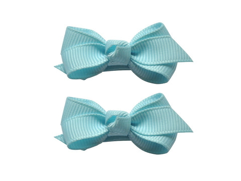 Small Snap Chelsea Boutique Bow - 2 pack - Cinderella Blue - Baby Wisp