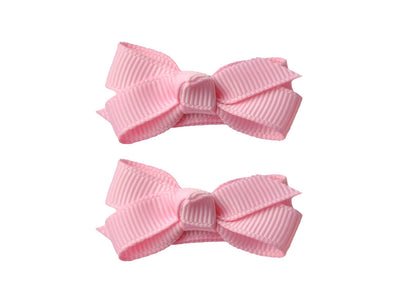 Small Snap Chelsea Boutique Bow - 2 pack - Rose Petal Pink - Baby Wisp