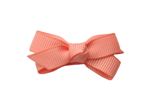 Small Snap Chelsea Boutique Bow - Single Hair Bow - Light Coral - Baby Wisp