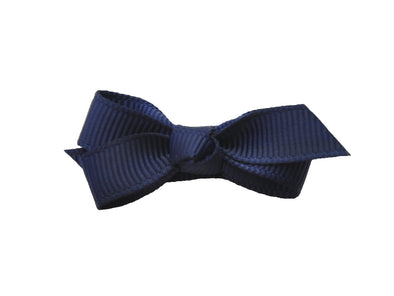 Small Snap Chelsea Boutique Bow - Single Hair Bow - Navy - Baby Wisp