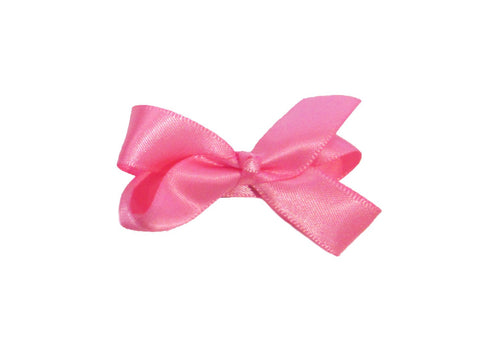 Small Snap Satin Boutique Baby Bow - Baby Wisp - hot-pink