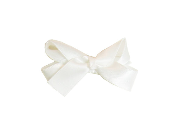 Small Snap Satin Boutique Baby Bow - Ivory - Baby Wisp