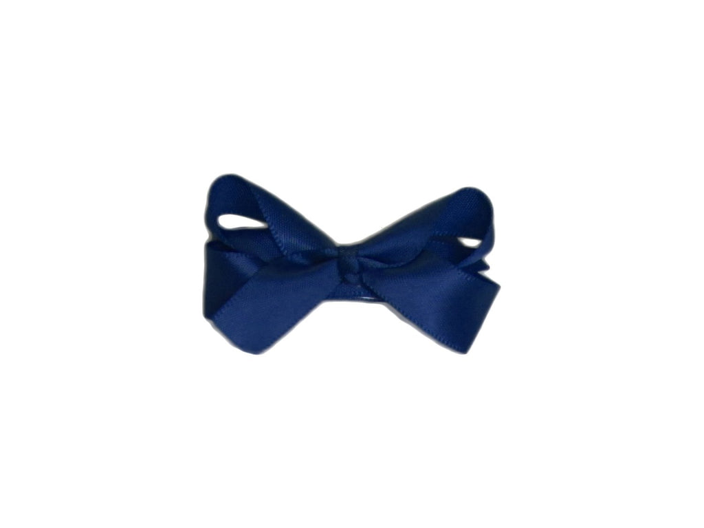Small Snap Satin Boutique Baby Bow - Navy - Baby Wisp