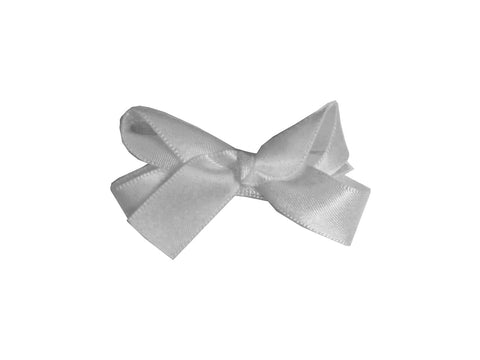 Small Snap Satin Boutique Baby Bow - Silver Grey - Baby Wisp