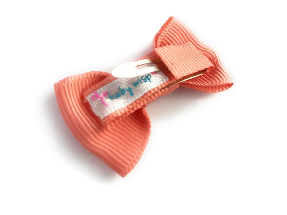 Small Snap Charlotte Bow - Single Hair Bow - Light Coral - Baby Wisp
