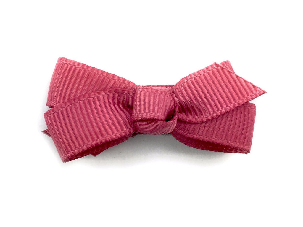 Small Snap Chelsea Boutique Bow - Single Hair Bow - Colonial Rose - Baby Wisp