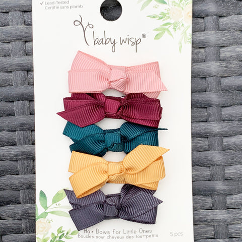 5 Small Snap Clips Chelsea Boutique Bow Collection - Fireside - Baby Wisp