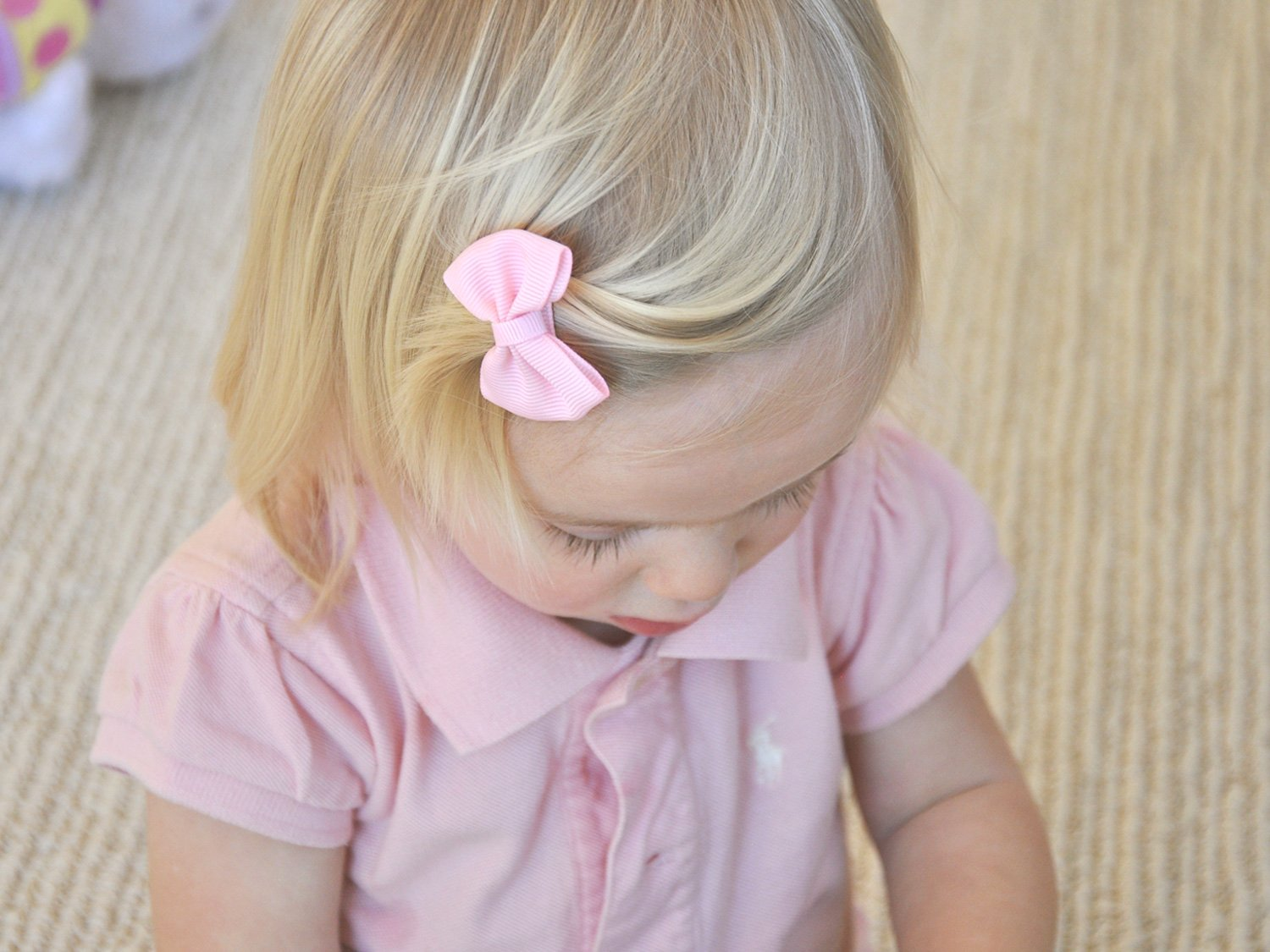 Image result for pink bow girl hair