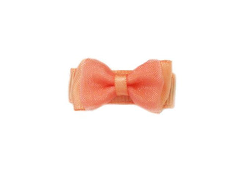 Small Snap Fancy Hair Bows - Single Hair Bow - Light Coral - Baby Wisp