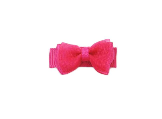Small Snap Fancy Hair Bows - Single Hair Bow - Fuchsia - Baby Wisp