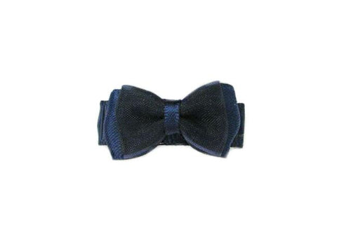 Small Snap Fancy Hair Bows - Single Hair Bow - Navy - Baby Wisp