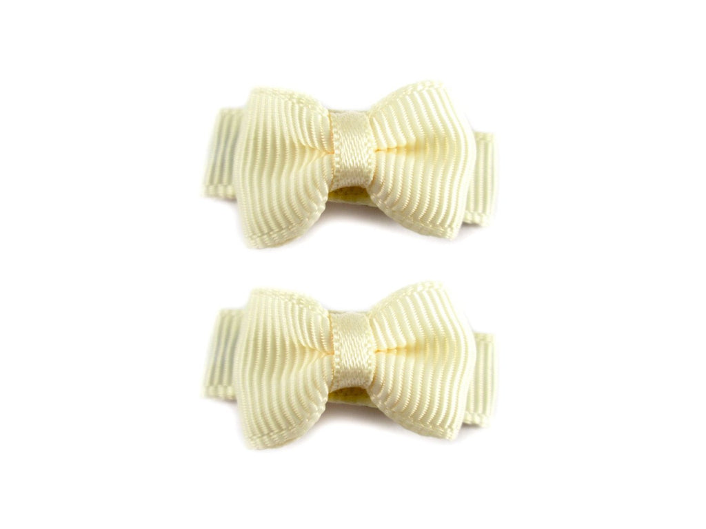 Grosgrain Tux Bow Snaps - 2 pack - Ivory - Baby Wisp