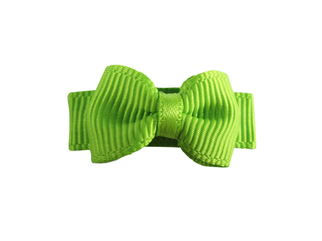Grosgrain Tuxedo Bow Snap Clip - Single Hair Bow - Apple Green