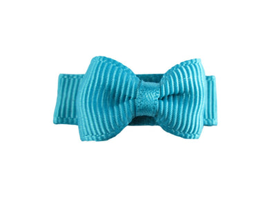 Grosgrain Tuxedo Bow Snap Clip - Single Hair Bow - Turquoise - Baby Wisp