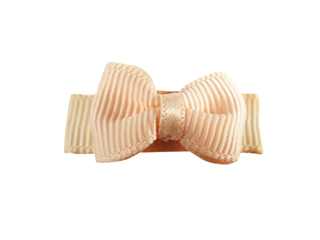 Grosgrain Tuxedo Bow Snap Clip - Single Hair Bow - Baby Peach - Baby Wisp