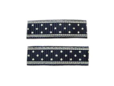 Little Girl Urban Navy Stars Ribbon Clips - Baby Wisp