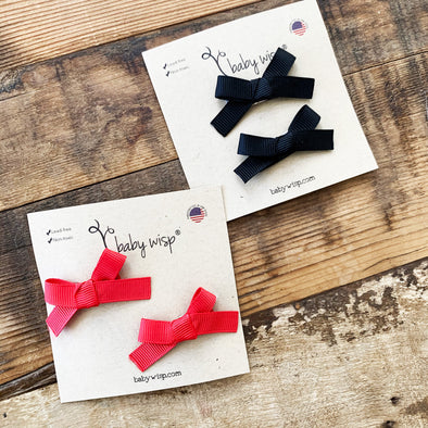 2 Hand Tied Baby Bows - Red Bows - Black Bows - Baby Wisp