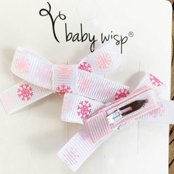 Hand Made in Usa Baby Bows - Snow Flake Grosgrain Ribbon - Baby Wisp