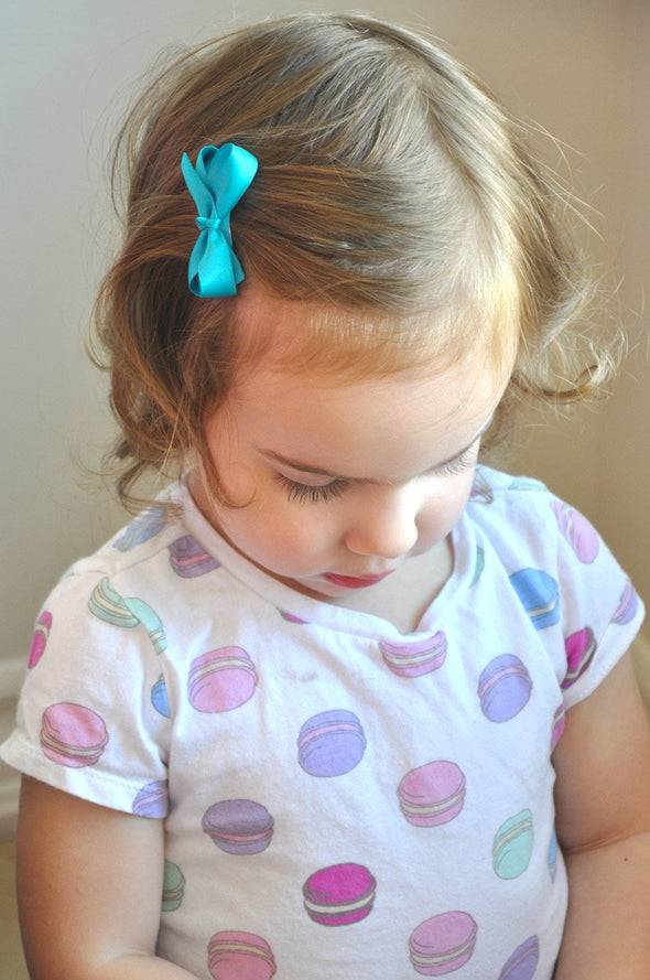 Toddler Pigtail Bows -Small Barrettes Satin Boutique Bows - Set of 4 - Baby Wisp