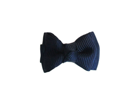Small Snap Trendy Twist Hair Bow - Navy - Baby Wisp