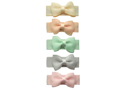 Small Snap Clips Pastel Grosgrain Bows Collection - Baby Wisp