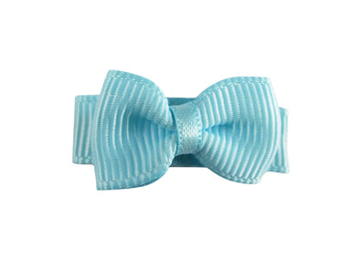 Grosgrain Tuxedo Bow Snap Clip - Single Hair Bow - Cinderella Blue - Baby Wisp