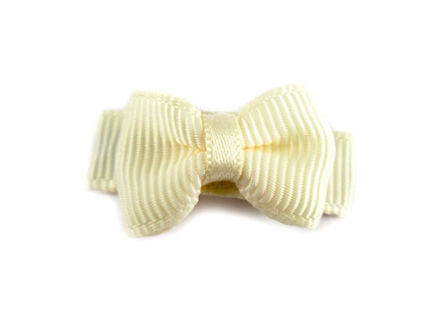 Grosgrain Tuxedo Bow Snap Clip - Single Hair Bow - Cream - Baby Wisp